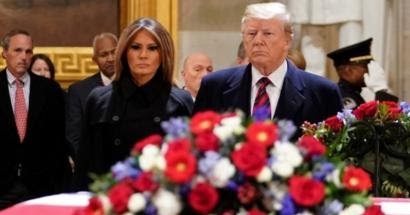 George HW Bush burial service: Trump pays regards at US Capitol